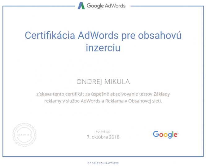 Google Certifikácia AdWords pre obsahovú inzerciu 2018