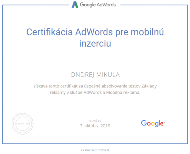 Google Certifikácia AdWords pre mobilnú inzerciu 2018