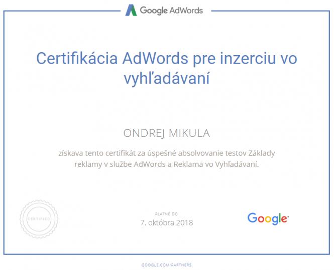 Google Certifikácia AdWords pre inzerciu vo vyhľadávaní 2018
