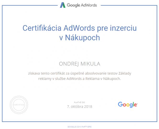 Google Certifikácia AdWords pre inzerciu v Nákupoch 2018