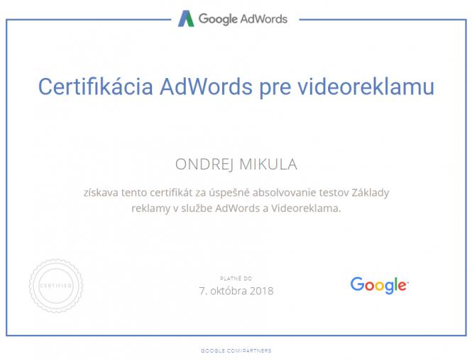 Google Certifikácia AdWords pre videoreklamu 2018