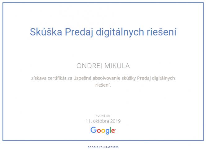Google Skúška Predaj digitálnych riešení 2019