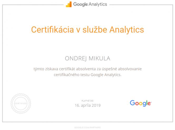 Google Certifikácia v službe Analytics 2019
