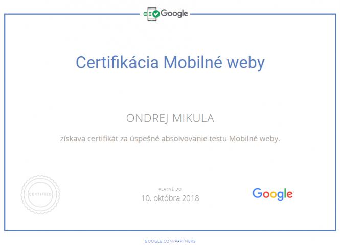 Google Certifikácia Mobilné weby 2018